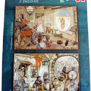 Jumbo Anton Pieck puzzel - 2 x 1000 stukjes - Koperen Ko / Toverlantaarn in de huiskamer