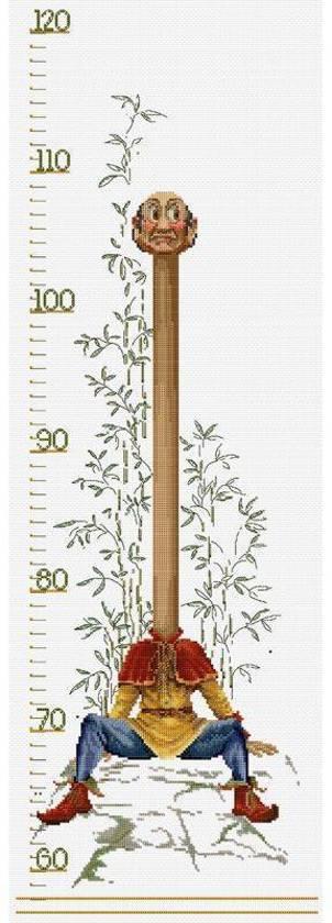 Thea Gouverneur Borduurpakket 2052A Efteling Groeimeter - Aida stof 100% katoen