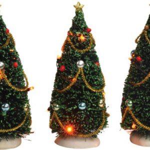 Drie bomen met verlichting 15 cm hoog