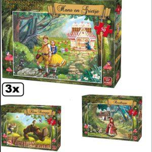 3x Legpuzzel sprookjes met verhaal 50 stukjes