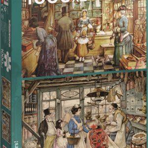 Jumbo puzzel Anton Pieck 2 x 1000 stukjes Bakkerij en Kruideniers winkel