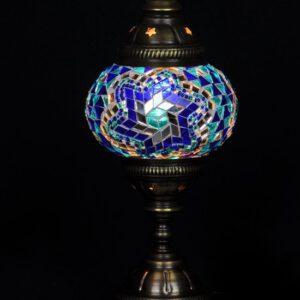 Tafellamp - blauw - mozaïek - glas - Ø 13 cm - hoogte 28 cm - Turkse lamp - Oosterse lamp