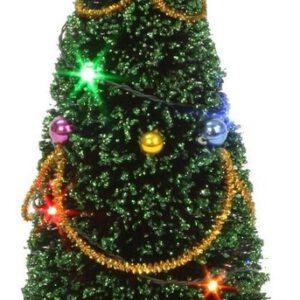 Kerstboom met verlichting 15 cm hoog