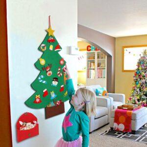 Vilten kerstboom voor kinderen incl glitter kerstversiering – Mini kerstboom vilt - Kunstkerstboom
