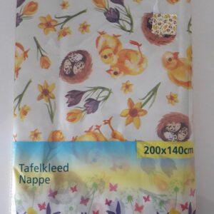 Paaskleed - Paastafellaken - vinyl tafelkleed Pasen - 200 x 140 - kuiken - narcis