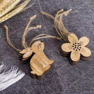 Paasdecoratie set - 8 hangers - haas en bloem - houten paashangers - paastakken - pasen