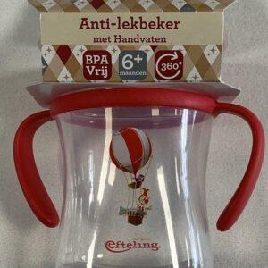 Efteling - Anti Lekbeker met handvaten - BPA Vrij - 6+ Maanden - Jokie  - 360 graden - Rood
