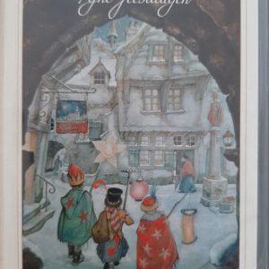 ANTON PIECK  8 dubbele Kerstkaarten met enveloppen - kerststal
