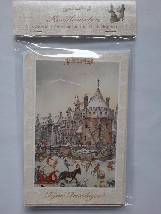 8 dubbele kerstkaarten met enveloppen Anton Pieck - Schreierstoren Amsterdam