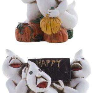 Kaarsenhouder spookjes - 2 stuks - 15 x 12 x 9 cm - Halloween - Feestdecoratievoorwerp