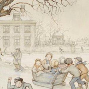 8 dubbele kerstkaarten met enveloppen Anton Pieck - slee