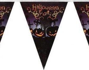 Vlaggenlijn/slinger Halloween Party met pompoenen 250 cm - Halloween feest versiering/decoratie - Horror griezel feestje