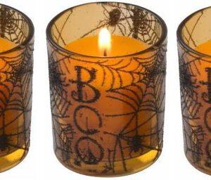 3x Halloween kaars oranje in glazen houder 6 cm - Halloween/horror decoratie/versiering