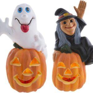 spook en heks op pompoen met licht - 32 cm - 2 stuks - feestdecoratievoorwerp - halloween