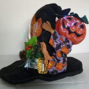 Halloween decoratie - Heksenhoed met Pompoen mannetje - met licht en geluid