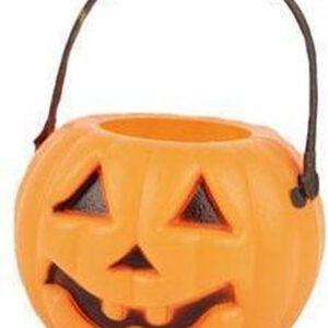 6x Halloween mini pompoen emmers 5 cm - Halloween decoratie/versiering/accessoires - Pompoen emmertjes
